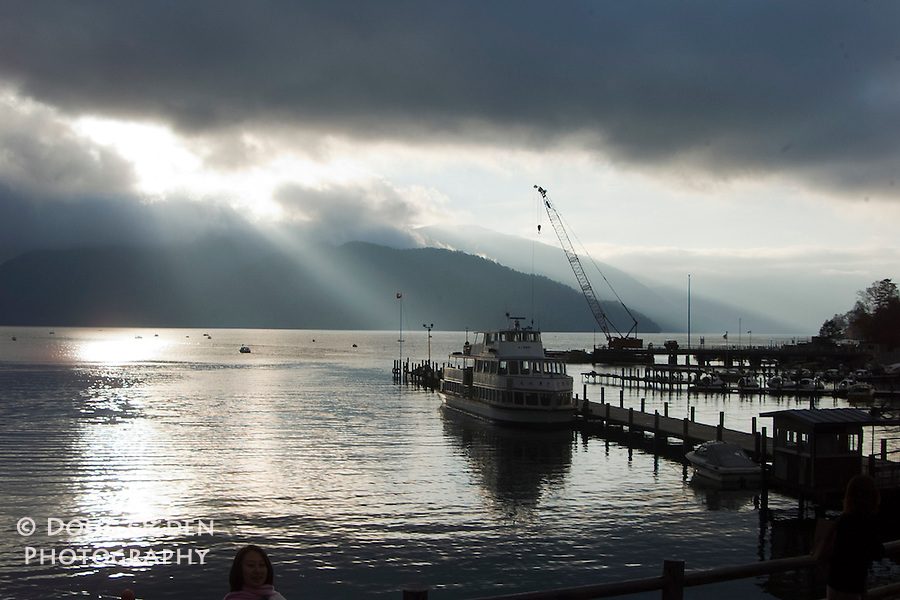 "Sun rays through the clouds, ""Fingers of God"", Lake Chuzenji, Japan"