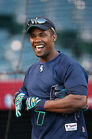 Jose Guillen of the Seattle Mariners during batting practice before a game from the 2007 season at Angel Stadium in Anaheim, California. (Larry Goren/Four Seam Images)