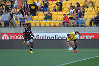 Ngani Laumape scores during the Super Rugby match between the Hurricanes and Sharks at Sky Stadium in Wellington, New Zealand on Saturday, 15 February 2020. Photo: Dave Lintott / lintottphoto.co.nz