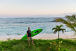 Big wave surfer Garrett McNamara on the north shore of Oahu, HI