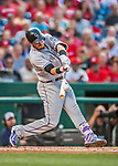 29 July 2017: Colorado Rockies infielder Trevor Story connects for a 2-run homer to right in the second inning against the Washington Nationals at Nationals Park in Washington, DC. The Rockies defeated the Nationals 4-2 in the first game of their 3-game weekend series. Mandatory Credit: Ed Wolfstein Photo *** RAW (NEF) Image File Available ***