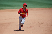 Palm Beach Cardinals left fielder Scott Hurst (7) runs the bases during a game against the Jupiter Hammerheads on August 5, 2018 at Roger Dean Chevrolet Stadium in Jupiter, Florida.  Jupiter defeated Palm Beach 3-0.  (Mike Janes/Four Seam Images)