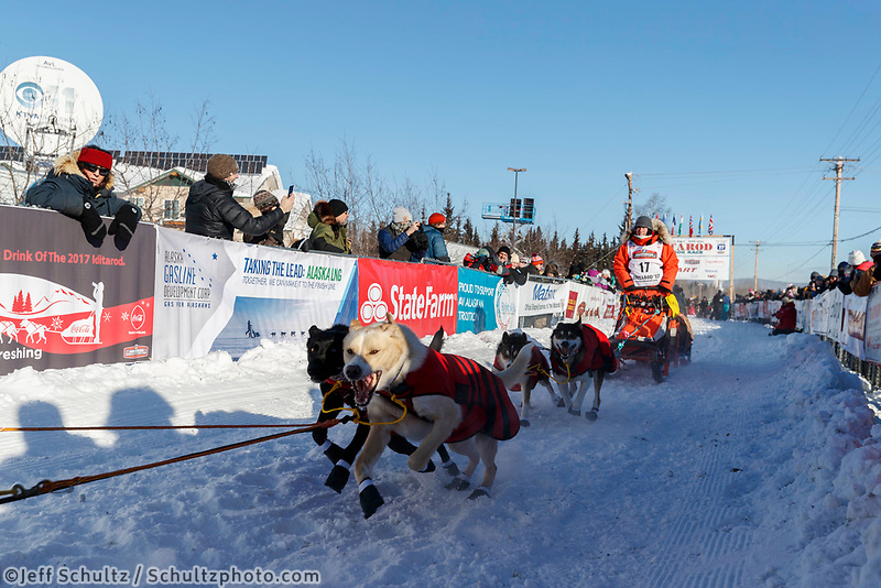Kristin Bacon leaves the re-start line of the 2017 Iditarod in Fairbanks, Alaska at Pike's Landing on Monday March 6, 2017.<br /> <br /> Photo by Jeff Schultz/SchultzPhoto.com  (C) 2017  ALL RIGHTS RESVERVED