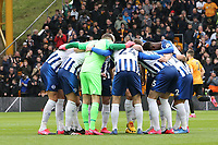 Brighton team huddle during Wolverhampton Wanderers vs Brighton & Hove Albion, Premier League Football at Molineux on 7th March 2020