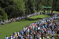 John Rahm (ESP) on the 18th tee during the 1st round at the The Masters , Augusta National, Augusta, Georgia, USA. 11/04/2019.<br /> Picture Fran Caffrey / Golffile.ie<br /> <br /> All photo usage must carry mandatory copyright credit (© Golffile | Fran Caffrey)