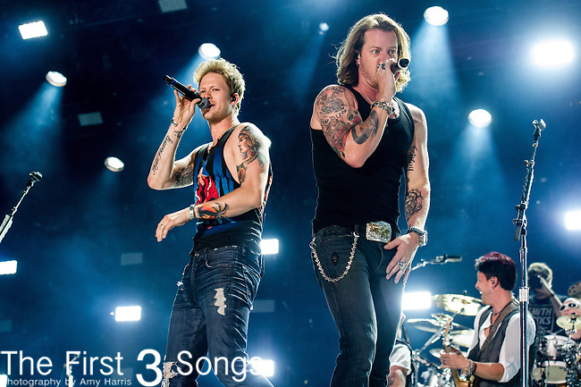Brian Kelley and Tyler Hubbard of Florida Georgia Line performs at LP Field during Day Three of the 2014 CMA Music Festival in Nashville, Tennessee.