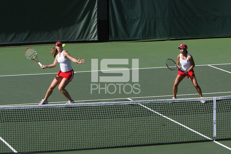 4 March 2008: Lindsay Burdette and Hilary Barte during doubles during Stanford's 5-2 win over William and Mary at the Taube Family Tennis Stadium in Stanford, CA.
