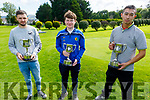 Members of the Tralee Pitch and Putt who won at the recent County Strokeplay, picture on Monday at the Tralee Pitch and Putt Club. <br /> L to r: Michael Conway (Intermediate Champion), Jason Cregan (Senior Champion) and Paul O'Shea (Junior Champion).