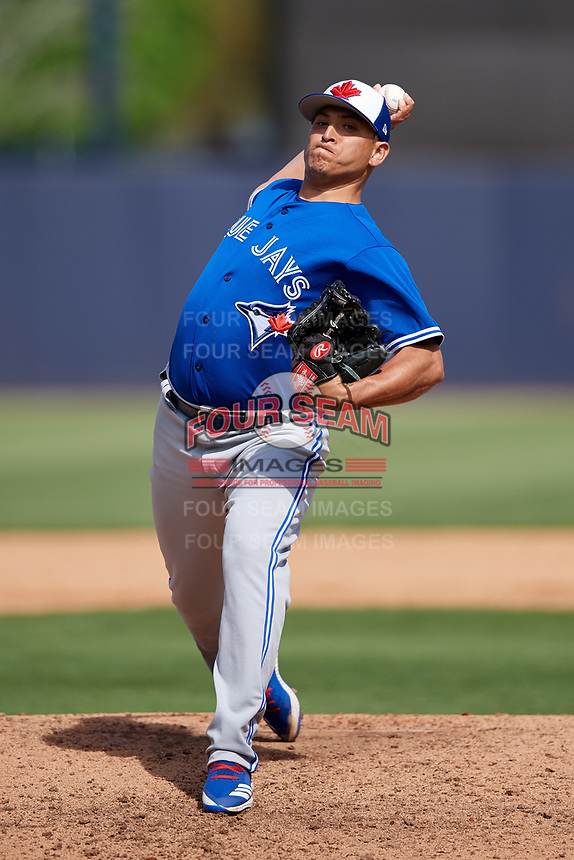 Toronto Blue Jays relief pitcher Javy Guerra (48) delivers a pitch during a Grapefruit League Spring Training game against the New York Yankees on February 25, 2019 at George M. Steinbrenner Field in Tampa, Florida.  Yankees defeated the Blue Jays 3-0.  (Mike Janes/Four Seam Images)