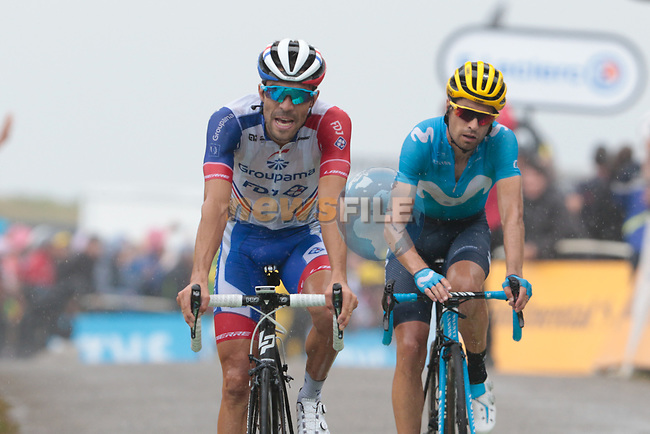 Thibaut Pinot (FRA) Groupama-FDJ and Mikel Landa (ESP) Movistar Team cross the finish on Prat d'Albis in 2nd and 3rd places during Stage 15 of the 2019 Tour de France running 185km from Limoux to Foix Prat d'Albis, France. 20th July 2019.<br /> Picture: Colin Flockton | Cyclefile<br /> All photos usage must carry mandatory copyright credit (© Cyclefile | Colin Flockton)