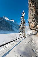 Austria, Upper Austria, Salzkammergut, Gosau: winter scenery at Lower Gosau Lake with Gosaukamm part of Dachstein mountains | Oesterreich, Oberoesterreich, Salzkammergut, Gosau: Winterlandschaft am vorderen Gosausee mit Gosaukamm