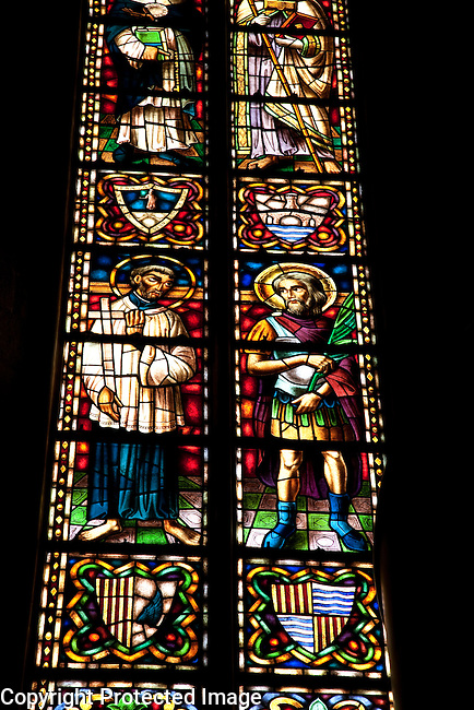 Stained Glass Window in Santa Maria del Mar Church in Barcelona, Catalonia, Spain