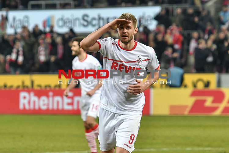 08.02.2019, Rheinenergiestadion, Köln, GER, DFL, 2. BL, VfL 1. FC Koeln vs FC St. Pauli, DFL regulations prohibit any use of photographs as image sequences and/or quasi-video<br /> <br /> im Bild Torschuetze Simon Terodde (#9, 1.FC Köln / Koeln) salutiert nach seinem Tor zum 4:1<br /> <br /> Foto © nph/Mauelshagen
