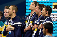 France Gold Medal 4x100m Medley Relay <br /> LACOURTCamille PEREZDORTONAGiacomo STRAVIUSJeremy <br /> GILOTFabien <br /> Swimming - Nuoto <br /> Barcellona 4/8/2013 Palau St Jordi <br /> Barcelona 2013 15 Fina World Championships Aquatics <br /> Foto Andrea Staccioli Insidefoto