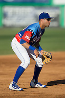 Burlington Royals third baseman Emmanuel Rivera (24) on defense against the Bluefield Blue Jays at Burlington Athletic Stadium on June 26, 2016 in Burlington, North Carolina.  The Blue Jays defeated the Royals 4-3.  (Brian Westerholt/Four Seam Images)