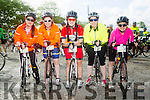 l-r  Moira Dunne, Marian Meehan, Mairead O'Connell, Aishling O'Sullivan and Breda Dunne at the  St Kieran's GAA cycle from the Castleisland Desmonds Pitch on Sunday