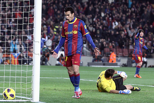 26.01.2011.  Spain, Copa del Rey semifinal FC BArcelona Beat UD Almeria at Camp Nou. Picture shows  Pedro and Messi celebrate after scoring a  goal