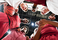 NWA Democrat-Gazette/CHARLIE KAIJO Arkansas Razorbacks players huddle during the Southeastern Conference Men's Basketball Tournament semifinals, Saturday, March 10, 2018 at Scottrade Center in St. Louis, Mo. The Tennessee Volunteers knocked off the Arkansas Razorbacks 84-66