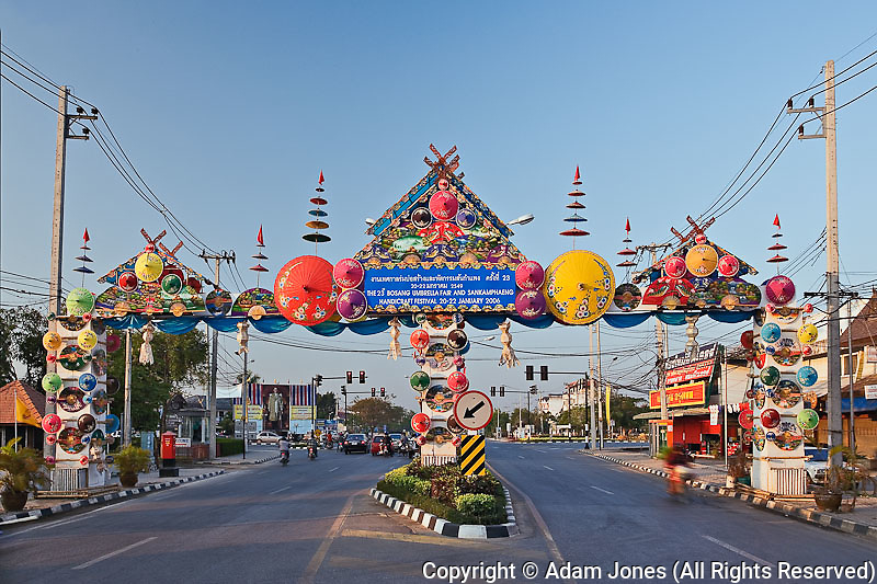 Sign for the Bosang Umbrella festival, Chiang Mai, Thailand.