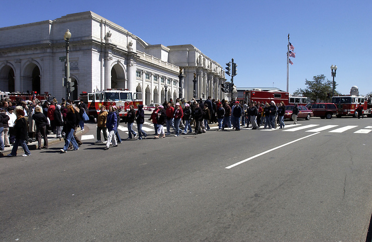Union Station was evacuated because of a book bag that smelled like gas.