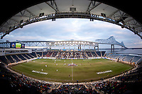 The second half begins at the NCAA Men's College Cup final at PPL Park in Chester, PA.  Notre Dame defeated Maryland, 2-1.