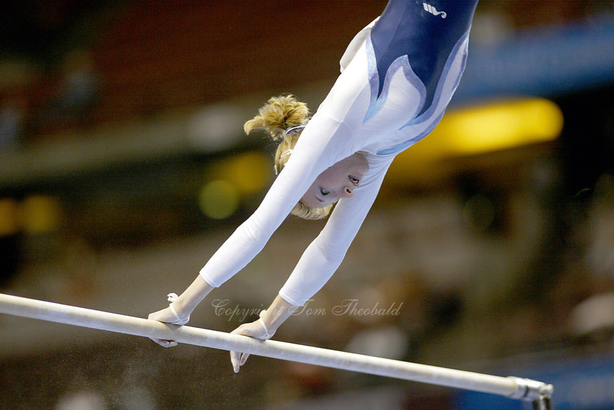 Marina Proskurina of Ukraine performs at 2003 World Championships Artistic Gymnastics on August 18, 2003 at Anaheim, California, USA.