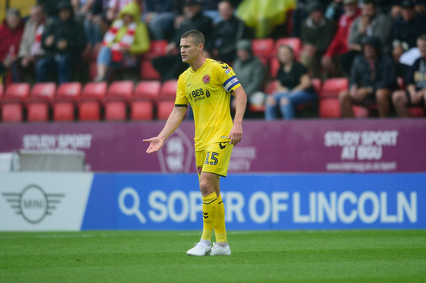 Fleetwood Town's Paul Coutts<br /> <br /> Photographer Andrew Vaughan/CameraSport<br /> <br /> The EFL Sky Bet League One - Lincoln City v Fleetwood Town - Saturday 31st August 2019 - Sincil Bank - Lincoln<br /> <br /> World Copyright © 2019 CameraSport. All rights reserved. 43 Linden Ave. Countesthorpe. Leicester. England. LE8 5PG - Tel: +44 (0) 116 277 4147 - admin@camerasport.com - www.camerasport.com