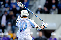 Baltimore, MD - April 5: Midfielder Greg Edmonds #10 of the John Hopkins Blue Jays looses his stick during the Albany v Johns Hopkins mens lacrosse game at  Homewood Field on April 5, 2012 in Baltimore, MD. (Ryan Lasek/Eclipse Sportwire)