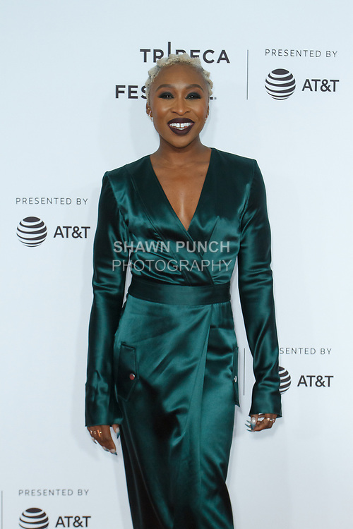 "Cynthia Erivo arrives at the Clive Davis: ""The Soundtrack Of Our Lives"" world premiere for the Opening Night of the 2017 TriBeCa Film Festival on April 19, 2017 at Radio City Music Hall."