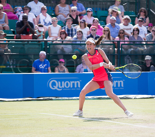 June 18th 2017, Nottingham, England; WTA Aegon Nottingham Open Tennis Tournament day 7 finals day;  Johanna Konta of Great Britain lines up a backhand in her match with Donna Vekic of Croatia