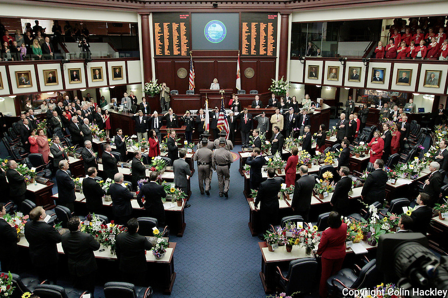 TALLAHASSEE, FL. 3/3/09-FLORIDA HOUSE2009 CH05-A Florida Highway Patrol Color Guard enters the House of Representatives chamber during opening day ceremonies of the 2009 Legislative session, March 3, 2009 at the Capitol in Tallahassee, Fla...COLIN HACKLEY PHOTO
