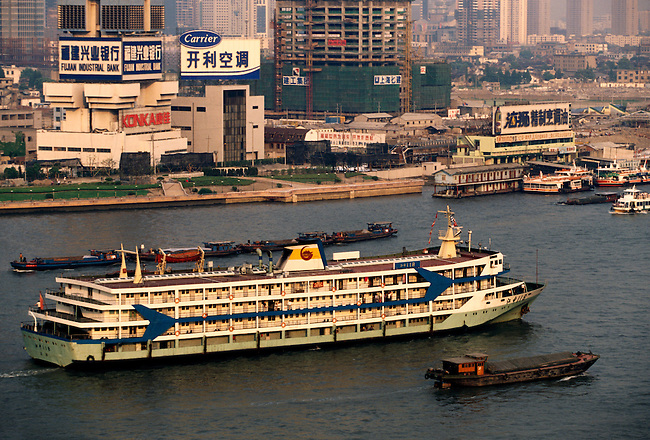 Passenger boat along Huangpu River, Shanghai, Shanghai Municipality, China, Asia