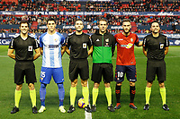 Captains of both teams and the 3 referees before the Spanish football of La Liga 123, match between CA Osasuna and Málaga CF at the Sadar stadium, in Pamplona (Navarra), Spain, on Saturday, November 3, 2018.