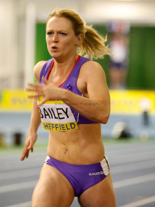Photo: Richard Lane/Richard Lane Photography. Aviva World Trials & UK Championships. 13/02/2010. Emma Bailey in a women's 60m heat.