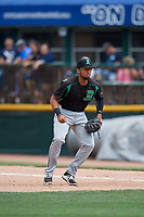 Dayton Dragons first baseman Leandro Santana (8) during a game against the Beloit Snappers on July 22, 2018 at Pohlman Field in Beloit, Wisconsin.  Dayton defeated Beloit 2-1.  (Mike Janes/Four Seam Images)