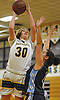 Shannon Bernhardt #30 of Masspequa, left, looks to drive to the net during a Nassau County Conference AA-1 varsity girls basketball game against Oceanside at Massapequa High School on Friday, Jan. 12, 2018. Massapequa won by a score of 65-37.