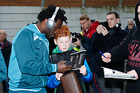 Wilfried Bony of Swansea City signs autographs during The Emirates FA Cup match between Notts County and Swansea City at Meadow Lane, Nottingham, England, UK. Saturday 27 January 2018