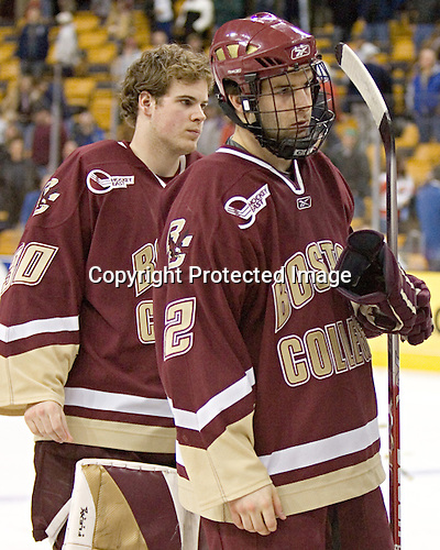 Adam Reasoner, Anthony Aiello - The Boston University Terriers defeated the Boston College Eagles 2-1 in overtime in the March 18, 2006 Hockey East Final at the TD Banknorth Garden in Boston, MA.