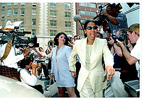 ***FILE PHOTO*** Bill Clinton Has Not Apologized To Monica Lewinsky And Claims Did The Right Thing Staying In Office.<br /> <br /> Washington, DC - July 28, 1998 -- Monica Lewinsky follows Judy Smith through a hoarde of media to her lawyer's office in Washington, DC on July 28, 1998.<br /> CAP/MPI/RS<br /> &copy;RS/MPI/Capital Pictures
