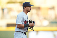 Scranton/Wilkes-Barre RailRiders third baseman Gleyber Torres (7) on defense against the Charlotte Knights at BB&T BallPark on April 12, 2018 in Charlotte, North Carolina.  The RailRiders defeated the Knights 11-1.  (Brian Westerholt/Four Seam Images)