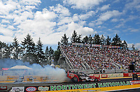 Aug. 7, 2011; Kent, WA, USA; NHRA funny car driver Jeff Diehl during the Northwest Nationals at Pacific Raceways. Mandatory Credit: Mark J. Rebilas-