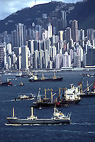 Shipping is one of the most prosperous sector in Hong Kong's economy. Various kinds of ships and tankers cross Victoria Harbour every day. Hong Kong, China.