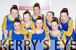 Spa figure dancers at the County Scor na bPaistí finals in the INEC on Sunday l-r: Ciara Moynihan , Carrie Hickey and Ailbhe Gallagher. Back row Erin Holland, Roisin O'Sullivan, Elena O'Donoghue, Laura O'carroll Kate Lawlor