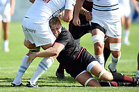 Jackson Wray of Saracens puts in a tackle. Pre-season friendly match, between Bedford Blues and Saracens on August 19, 2017 at Goldington Road in Bedford, England. Photo by: Patrick Khachfe / Onside Images