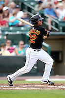 Rochester Red Wings Third Baseman Danny Valencia (22) during a game vs. the Norfolk Tides at Frontier Field in Rochester, New York;  May 31, 2010.   Norfolk defeated Rochester by the score of 2-1.  Photo By Mike Janes/Four Seam Images