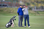 3rd October 2017, The Old Course, St Andrews, Scotland; Alfred Dunhill Links Championship, practice round; Singer Brian McFadden takes a selfie with his playing partner on the Old Course, St Andrews during a practice round ahead of the Alfred Dunhill Links Championship