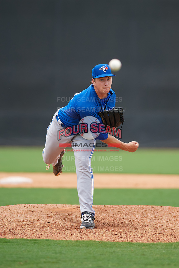 GCL Blue Jays relief pitcher Connor Law (81) delivers a pitch during the second game of a doubleheader against the GCL Yankees East on July 24, 2017 at the Yankees Minor League Complex in Tampa, Florida.  GCL Yankees East defeated the GCL Blue Jays 6-3.  (Mike Janes/Four Seam Images)