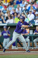TCU Horned Frogs outfielder Nolan Brown (6) at bat against the Vanderbilt Commodores in Game 12 of the NCAA College World Series on June 19, 2015 at TD Ameritrade Park in Omaha, Nebraska. The Commodores defeated TCU 7-1. (Andrew Woolley/Four Seam Images)