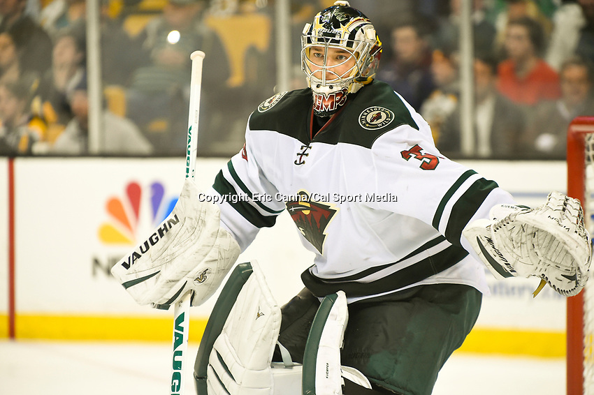 March 17, 2014 - Boston, Massachusetts , U.S. - Minnesota Wild goalie Darcy Kuemper (35) in game actoin during the NHL game between the Minnesota Wild and the Boston Bruins held at TD Garden in Boston Massachusetts. The Bruins defeated the Wild 4-1 at the end of regulation.  Eric Canha/CSM