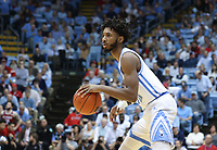 CHAPEL HILL, NC - FEBRUARY 25: Leaky Black #1 of the University of North Carolina dribbles the ball during a game between NC State and North Carolina at Dean E. Smith Center on February 25, 2020 in Chapel Hill, North Carolina.